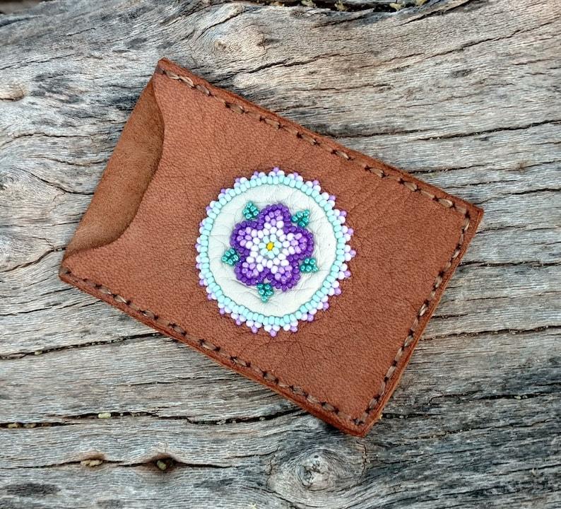 Beaded Purple Flower Women/'s Wallet Compact Leather Card Holder Beadwork Credit Or Gift Card Business Card Genuine Brown Deerskin