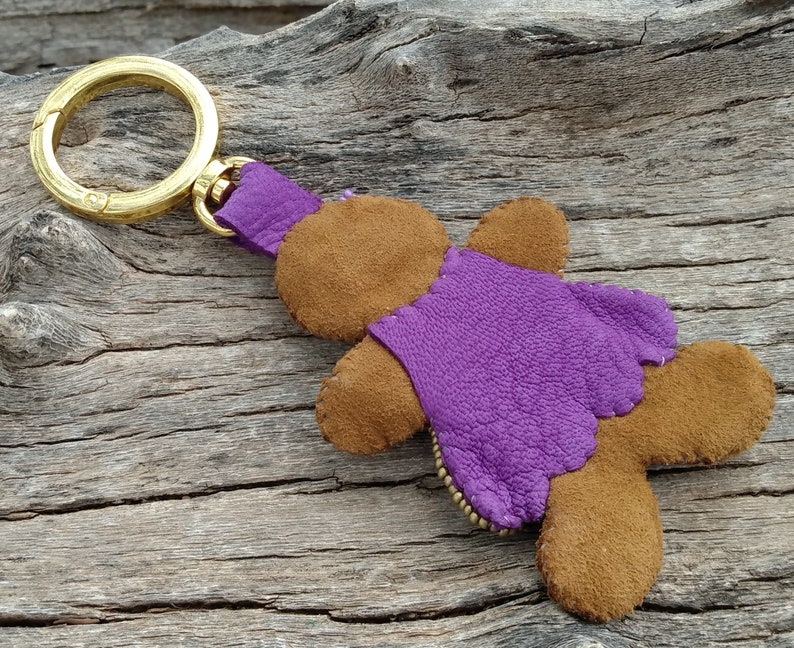 Purple Dress, Christmas Leather Gingerbread Girl Handbag Charm Tote Purse Gold Clip On Fob Genuine Leather Hand Bag Holiday Brown