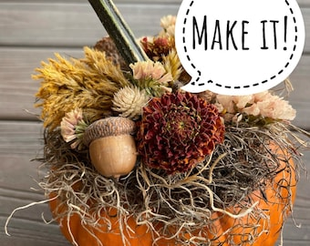 Make It!  From the Farm - Autumnal mix of dried florals to top pumpkin - crafts - dried flowers