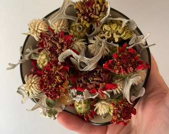 From the Farm - dried Christmas Holiday floral potpourri with refill of essential oil blend - pick your scent - dried flowers