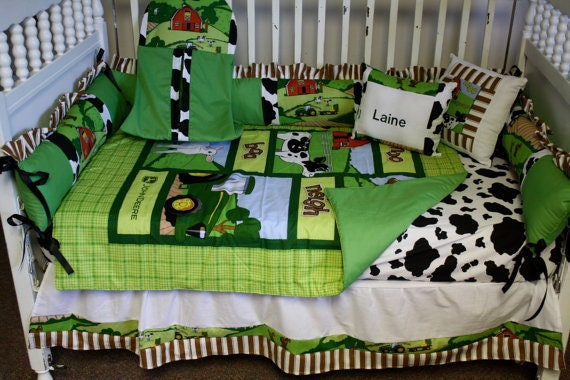 5 Piece john deere down on the farm baby crib bedding by BedBugsCreations