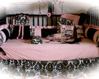 Pink Damask silk  Crib bedding-Free personalized pillow