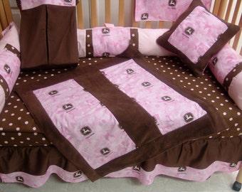 5 piece pink brown dot john deer  crib bedding -free personalized pillow