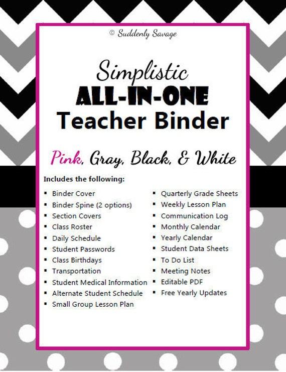 simplistic teacher binder bundle pink gray black white etsy