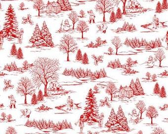 White/Red Winter Toile  Cotton Fabric Studio E 3252S-08