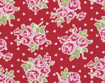 Red Falling Roses & Hearts  pwtw076red Cotton Fabric by Tanya Whelan FreeSpirit Valentine Rose
