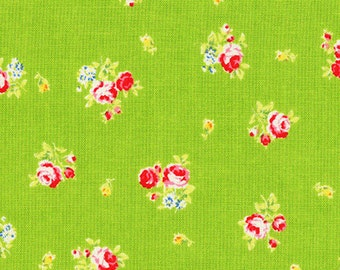 Flower Sugar 2013 by Lecien  Pink Roses on green  30750-60 Cotton Fabric
