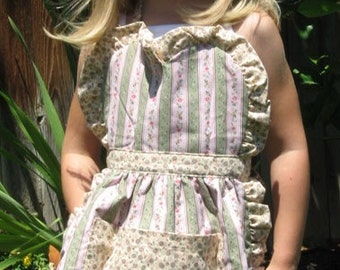 Childs Reversible Pinafore Style Apron with Rose Garden Tea for Two Fabric