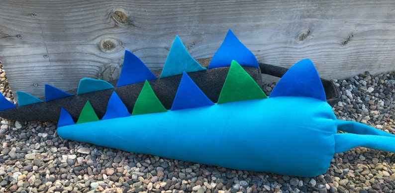 Kids Plush Teal Water DragonDinosaur Costume Tail with 7 Blue and Green Spikes