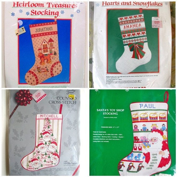 Needlepoint Christmas Stocking Kits.New Vintage Christmas Stocking Kit Lot Cross Stitch Needlepoint Dimensions Something Special Needle Treasures New In Package
