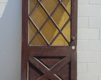"""Vintage Heavy Solid Wood Diamond Pane Front House Door // About 78"""" x 36"""""""