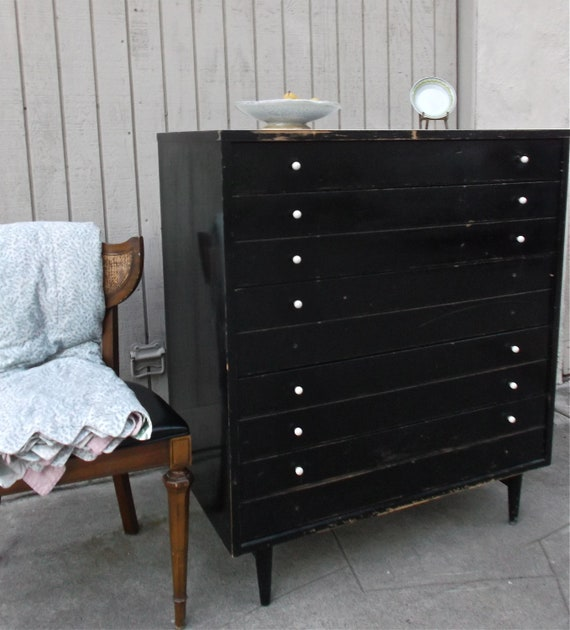 Pleasant Vintage Original Mid Century Modern Dresser Black White Solid Wood American Of Martinsville 5 Dovetail Drawer Dresser Mcm Furniture Gmtry Best Dining Table And Chair Ideas Images Gmtryco