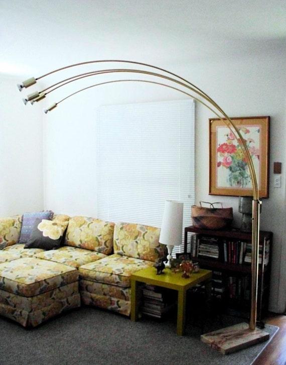 Vintage Arc Floor Lamp Mid Century Modern Brass Arch Lamp Etsy