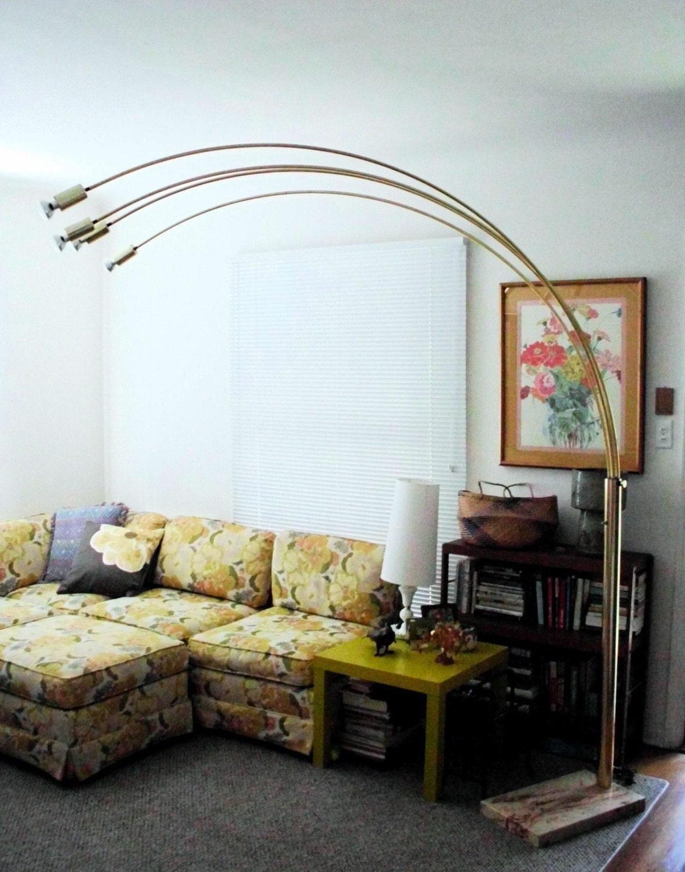 Vintage Arc Floor Lamp Mid Century Modern Brass Arch