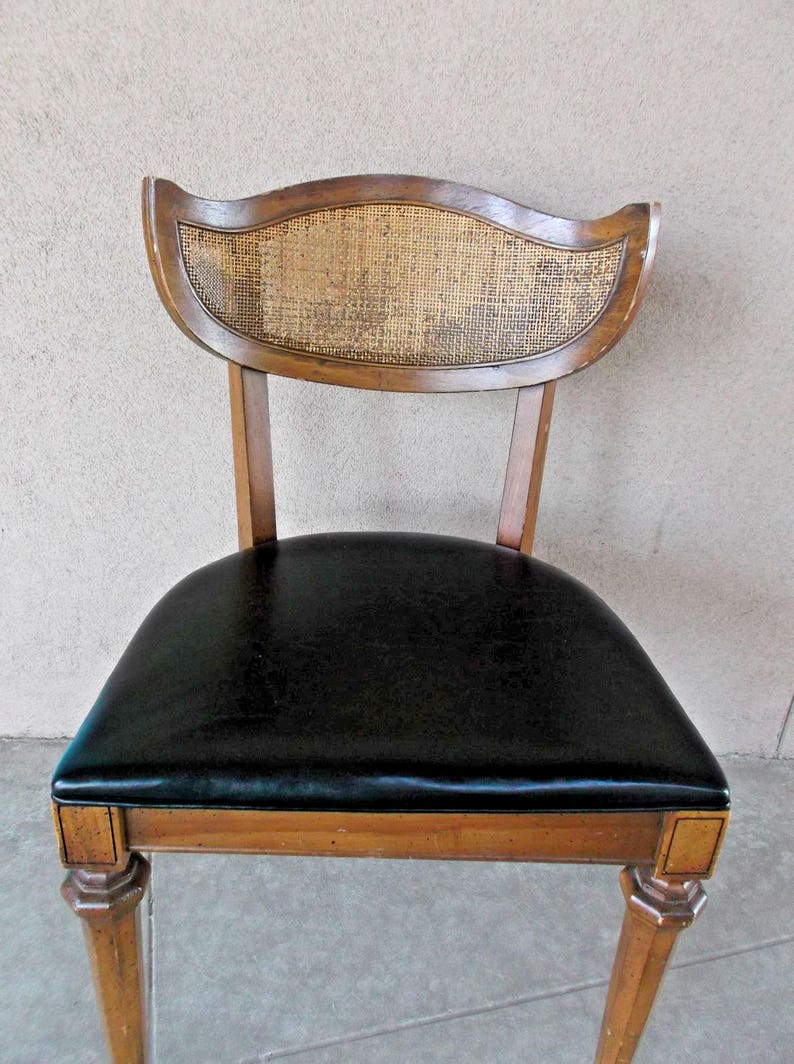 Rare Shelby Williams Dining Chair  Mid Century Modern Caned  Single Black Vinyl Asian Style  Free California Local Pick Up