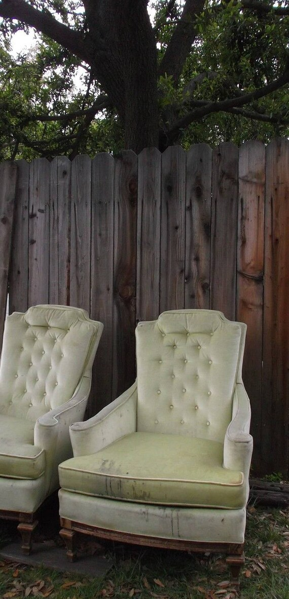 Vintage Tufted Club Chairs Wingback // Hollywood Regency Moderne Style //  Green Velvet Silver Craft USA Heavy Wear // Free CA Local Pick Up