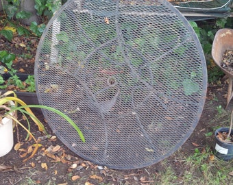 Vintage Metal Wire Patio Furniture // Table & Chair // Salterini Woodard Style  - Maker Unknown
