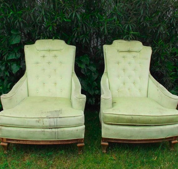 Exceptionnel Vintage Tufted Club Chairs Wingback // Hollywood Regency | Etsy