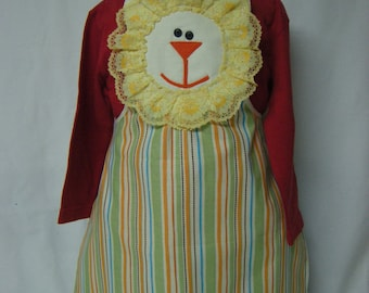 Children's Apron with Lion face  and Stripes