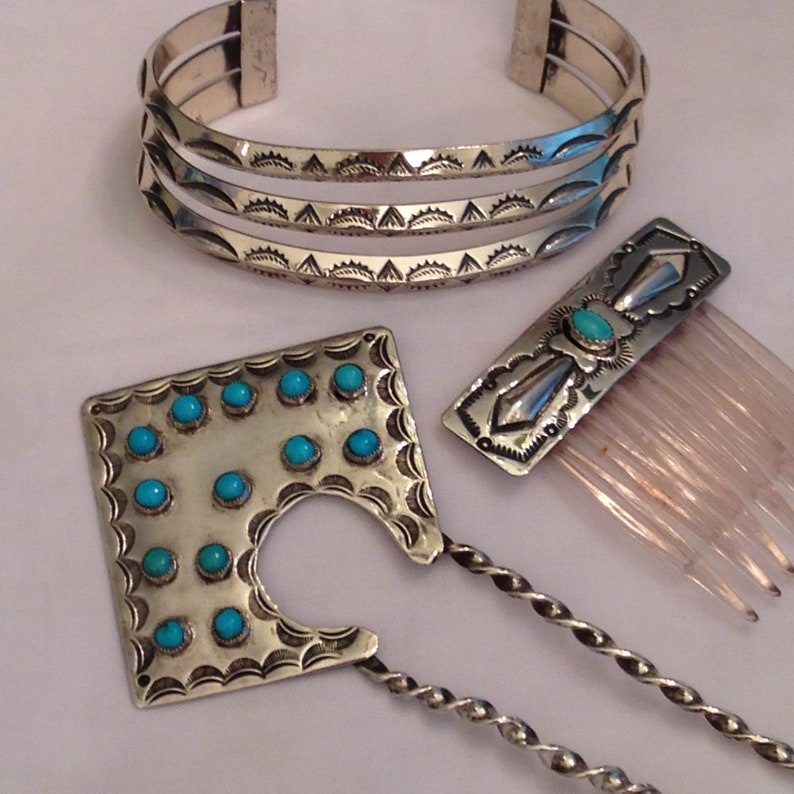 Navajo Turquoise Silver Hair Pin Hair Comb 13 Turquoise Stones image 0