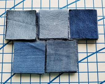 """Denim Jean Squares~3""""x3""""~Pack of 50~Clean Recycled Jeans Denim~Quilting, Applique, Sewing, Patches, Coasters, Trivets, Crafts, Rugs"""
