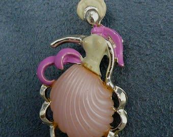 Pink Thermoset Lady Brooch Big Skirt Vintage Pin