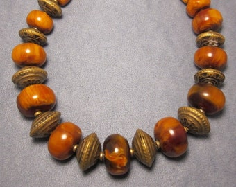 Moroccan Brass & Amber Style Bead Necklace