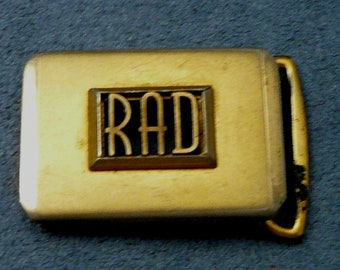 Vintage RAD Belt Buckle Initials  Word Rad Spelled Out