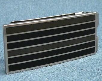 Art Deco Enamel Money Clip Striped Tan Brown Black