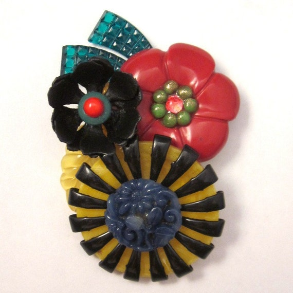 Vintage Plastic Flowers Brooch Colorful Pin - image 1