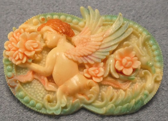 Celluloid Angel Brooch Vintage Pin - image 2
