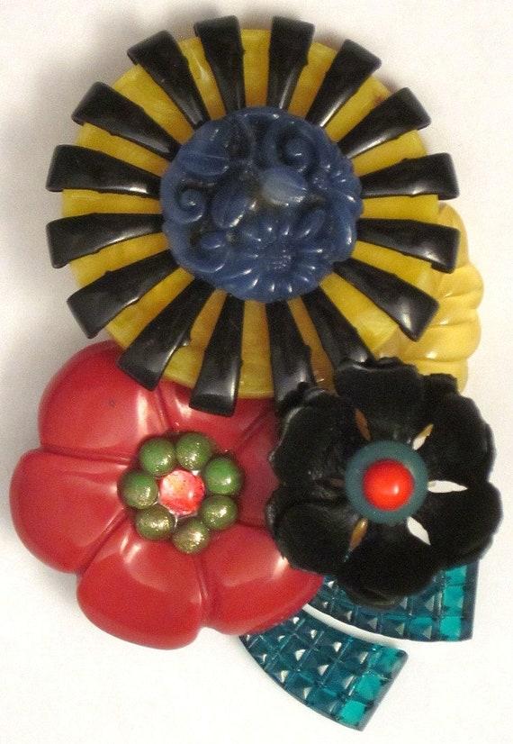 Vintage Plastic Flowers Brooch Colorful Pin - image 2