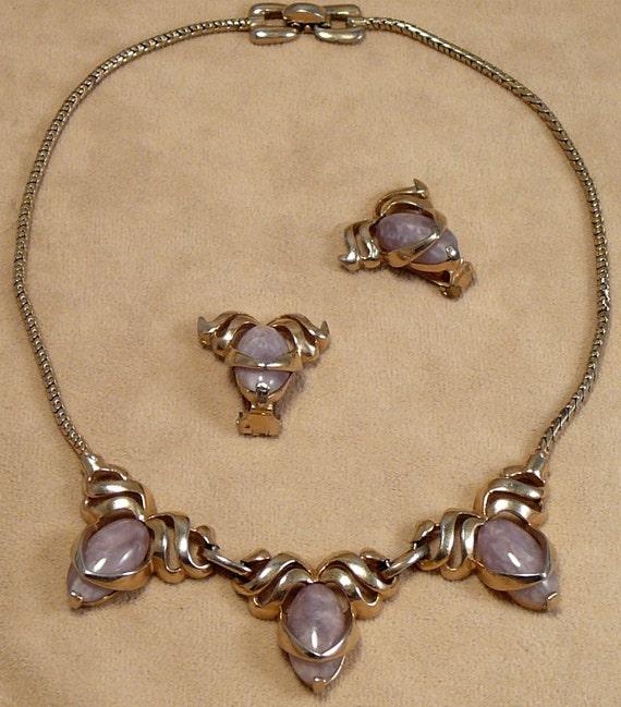 Reja Lavender Glass Necklace Earrings Set Vintage