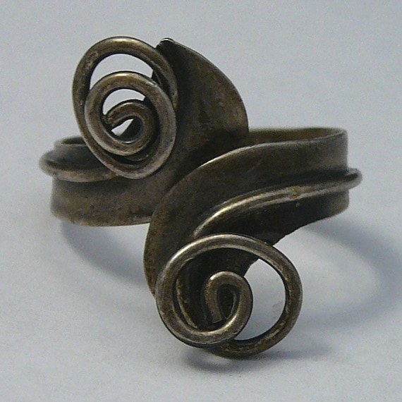 Vintage Taxco Sterling Ring Swirl Wrap Mexican Eag