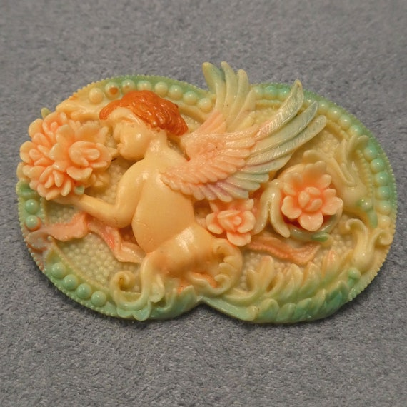 Celluloid Angel Brooch Vintage Pin