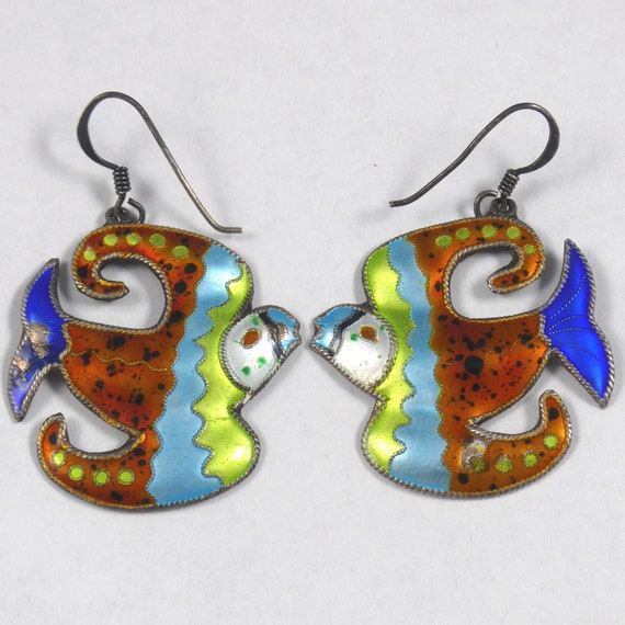 Sterling Enamel Bird Earrings Vintage S925