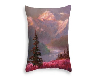 Mountain Landscape Painting Throw Pillows - Alaska Decor - Home Decor Cushion - Mountains & Forest Alaskan Art Pillow - Denali Summer Sunset