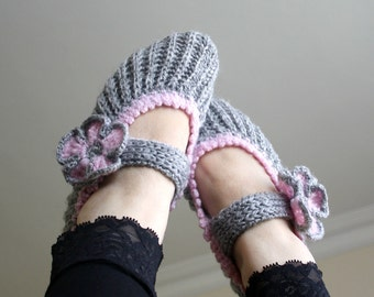 Gray and Sugar Pink Home Slippers, Knitted Slippers, Flowers Booties, Wedding Knitted Shoes, Gray Knitting Socks, Dancing Socks, Yoga Socks