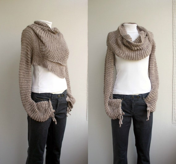 Hand Knit Milky Brown Long Sleeves Wrap Bolero Shrug OverSized Autumn Gifts Gift For Her Christmas gift Outdoors Gift Knit Accesssories