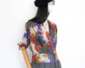 ae3f68fe6e VTG pierre balmain floral printed silky top (made in Japan, size JP9)