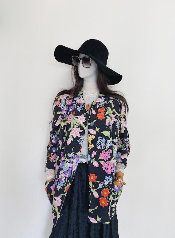 VTG Averardo Bessi floral printed silk quilted jac