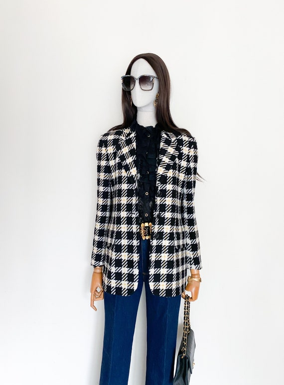 VTG Escada by Margaretha Ley wool check blazer - image 1