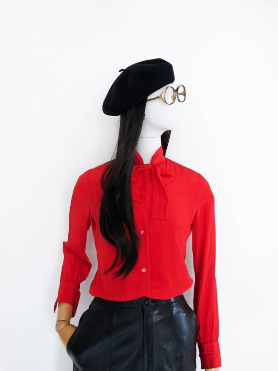 VTG MISS DIOR pussy bow silk blouse (made in Franc