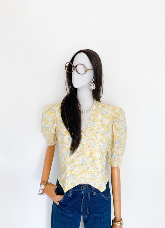 VTG floral printed puff sleeves cotton top