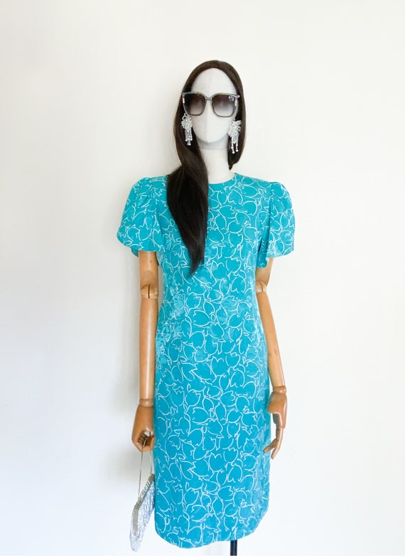VTG Hanae Mori Boutique floral printed silk dress