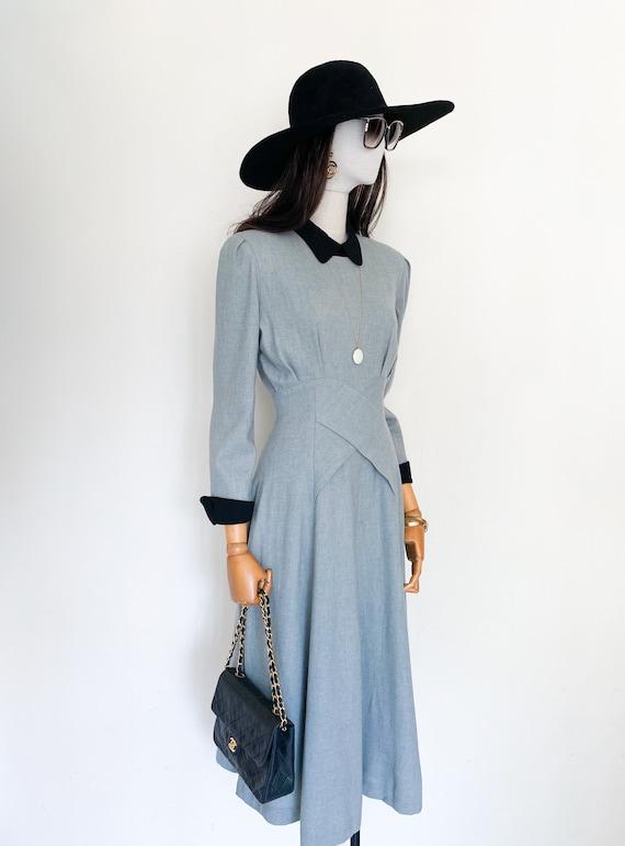 VTG wool flannel flared dress