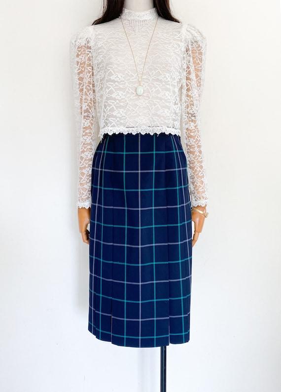 VTG Burberrys wool pleated skirt