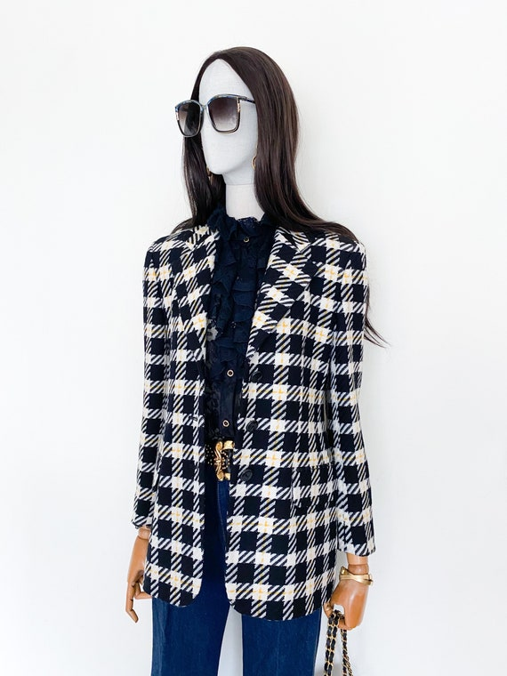 VTG Escada by Margaretha Ley wool check blazer - image 4