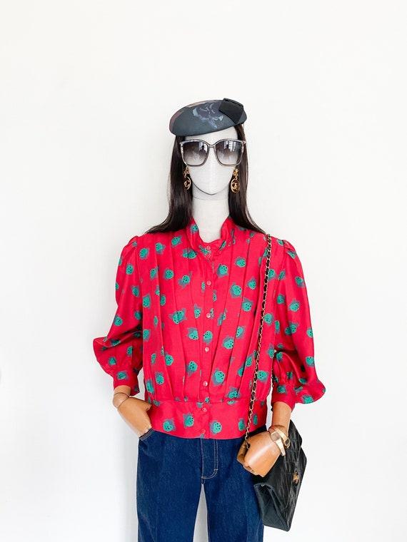VTG Japanese strawberry printed big puff sleeves b