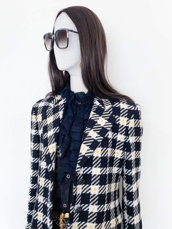 VTG Escada by Margaretha Ley wool check blazer - image 8